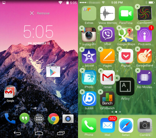 Moving app icons in Android and iOS