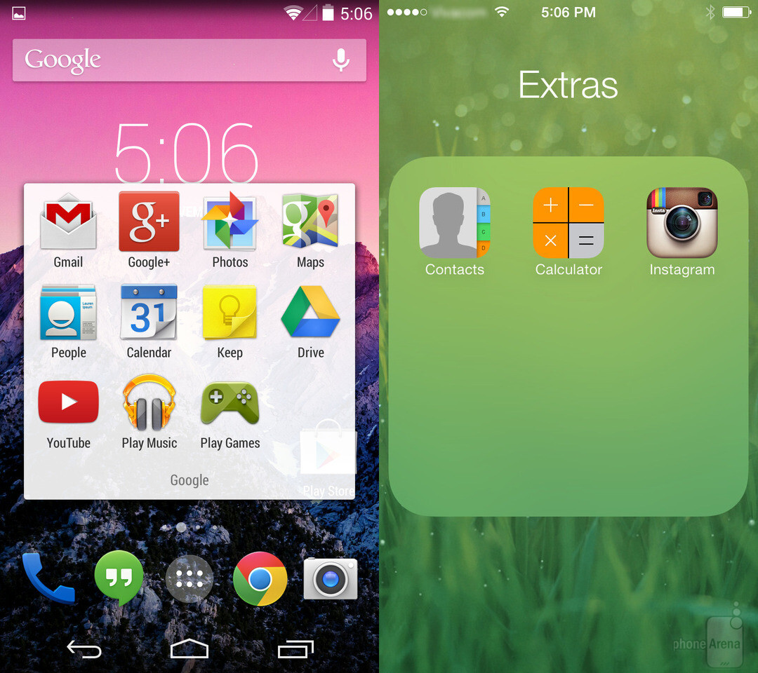 Folders in Android and iOS