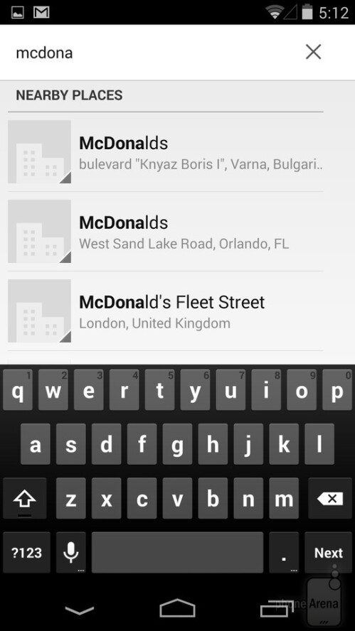 The smart Phone app in Android can search for businesses nearby