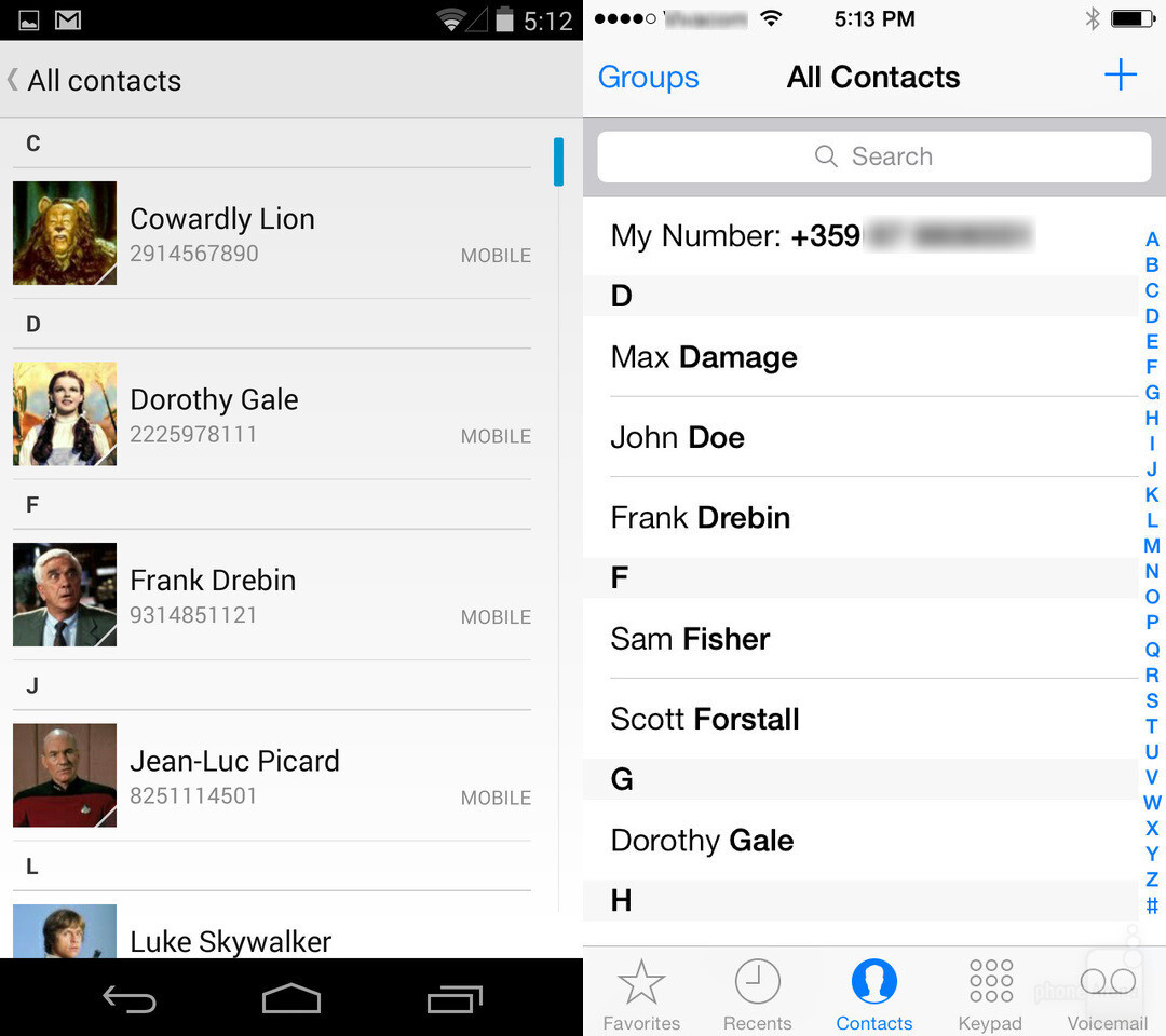 Contacts in Android and iOS