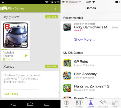 Game Center vs Play Games