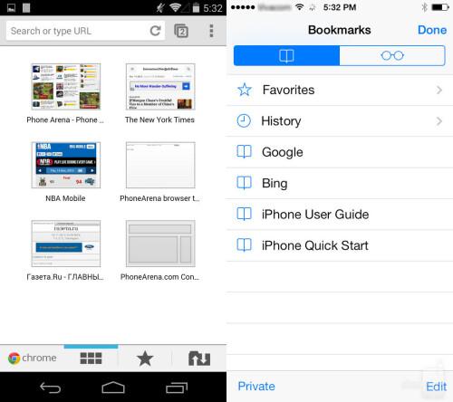 Bookmarks in Chrome and Safari