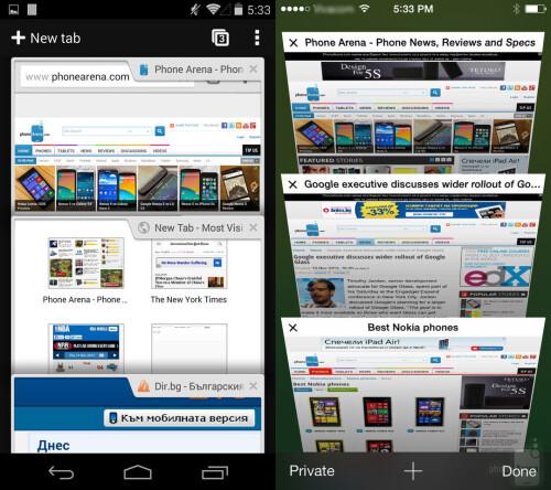 Multiple tabls in Chrome and Safari