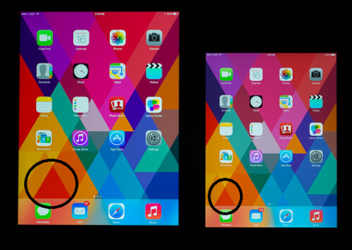Check out the difference in color reproduction between the Apple iPad Air on the left, and the new iPad mini on the right