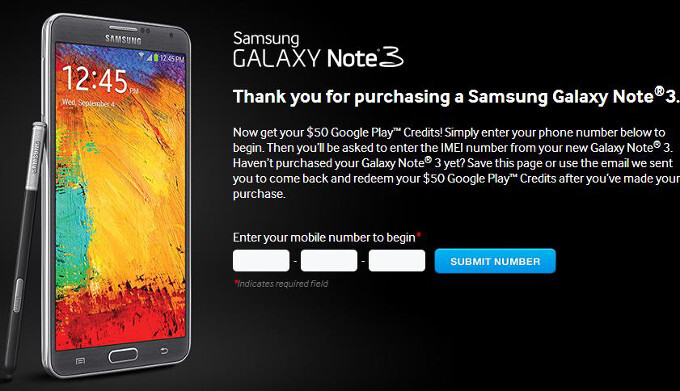 Samsung giving away $50 Google Play Store credit to Galaxy Note 3 owners in the US