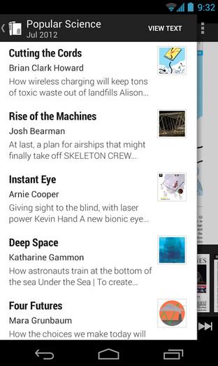 Screenshots from Google Newsstand