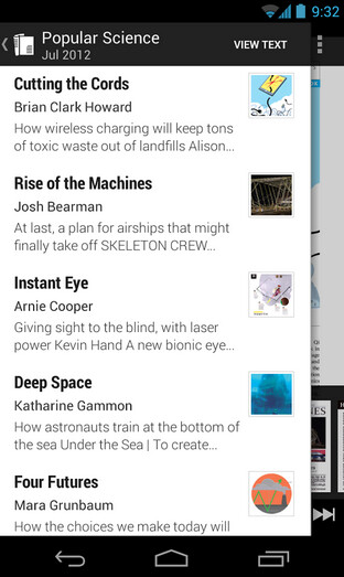 Screenshots from Google Newsstand - Google Newsstand brings your favorite content to one app