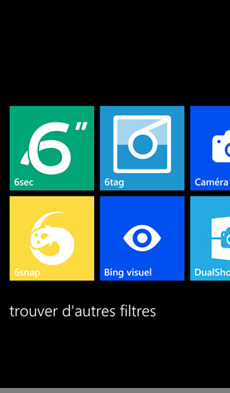 Screenshots from 6snap for Windows Phone Store