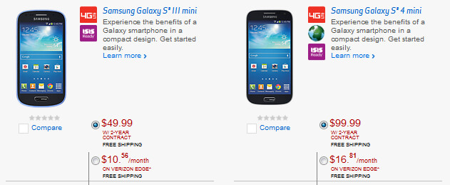 Two Samsung Galaxy S mini handsets are added to Verizon's lineup - Verizon adds two more smartphones in addition to the HTC One Max