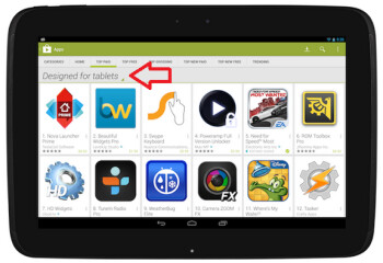 The Google Play Store will now show tablet users which apps and games are