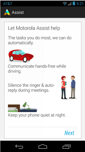 Screenshots from Motorola Assist - Motorola Assist and Motorola Connect are both now found in the Google Play Store