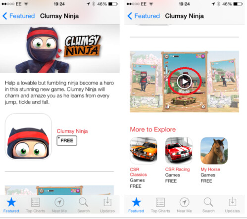 A video trailer for Clumsy Ninja was found embedded in the U.K. App Store