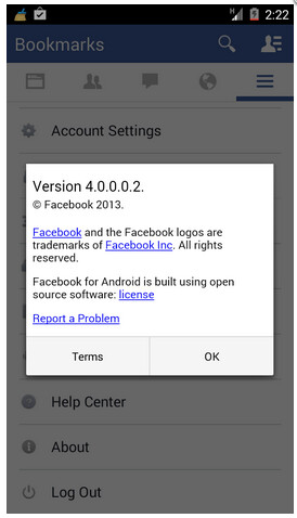 Screenshots from Facebook for Android 4.0