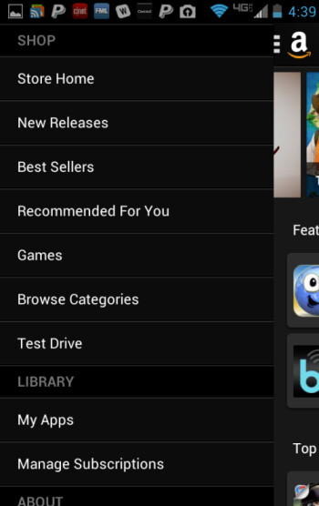 Screenshots from the updated Amazon Appstore