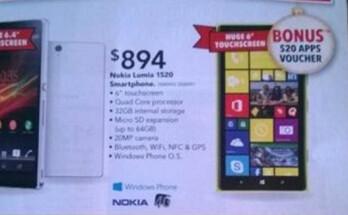 Nokia Lumia 1520 appears in new Harvey Norman catalogue in Australia