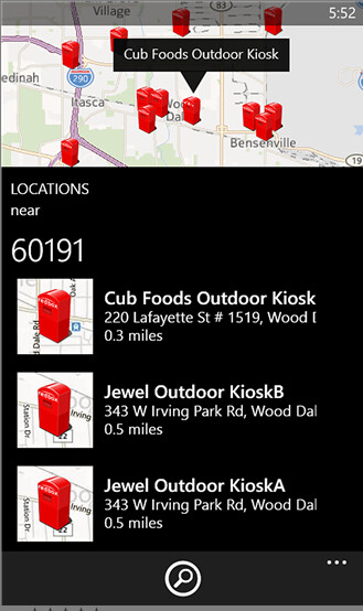 Screenshots from the Windows Phone 8 version of Redbox International