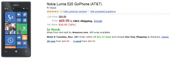 Amazon Prime is selling the Nokia Lumia 520 for just $69.99
