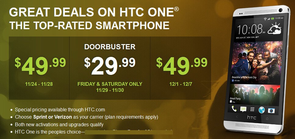 Get the Sprint or Verizon version of the HTC One this weekend for just $29.99 on contract