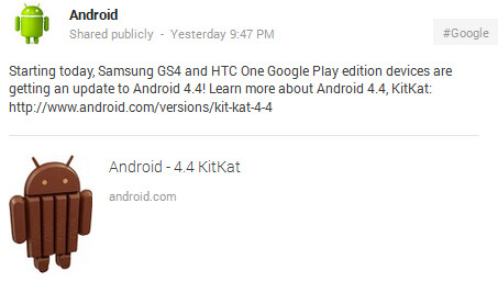 The Samsung Galaxy S4 Google Play edition and the HTC One Google Play edition are both starting to receive the Android 4.4 update - Samsung Galaxy S4 and HTC One Google Play editions start to receive Android 4.4 update