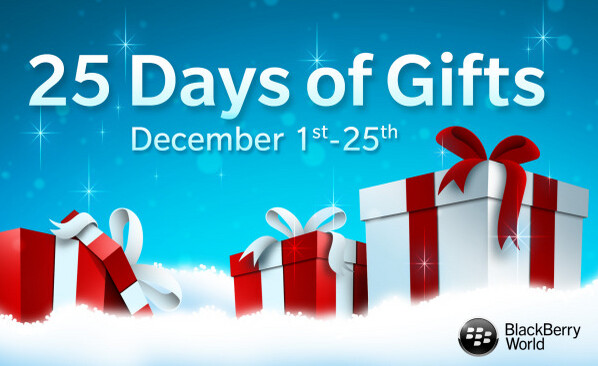 BlackBerry 10 users can score one free premium download a day from BlackBerry World from December 1 through December 25th - BlackBerry announces 25 Days of Gifts giveaway; promotion starts December 1st