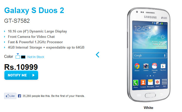 The Samsung Galaxy S Duos 2 is posted on Samsung India's website - Samsung Galaxy S Duos 2 official, posted on Samsung India's website