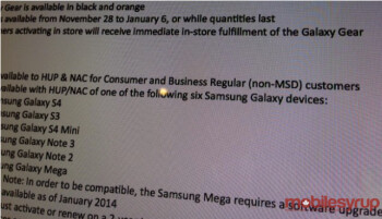 Leaked document shows that the Rogers version of the Samsung Galaxy Meg 6.3 will receive Android 4.3 in January