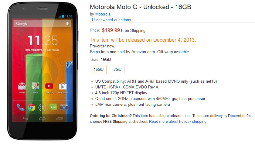 Pre-order the Motorola Moto G from Amazon today - Pre-order the Motorola Moto G today from Amazon; phone ships on December 4th