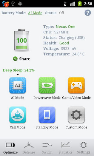 Screenshots from the One Power Guard Pro app - Android app increases battery life on rooted models