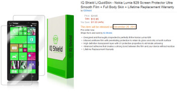 Amazon's shipping date for this Nokia Lumia 929 accessory confirms a mid to late December launch for the phone