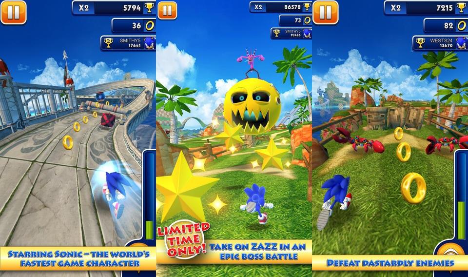 اللعبة الرائعة والغنية التعريف Sonic Sonic-Dash---Android
