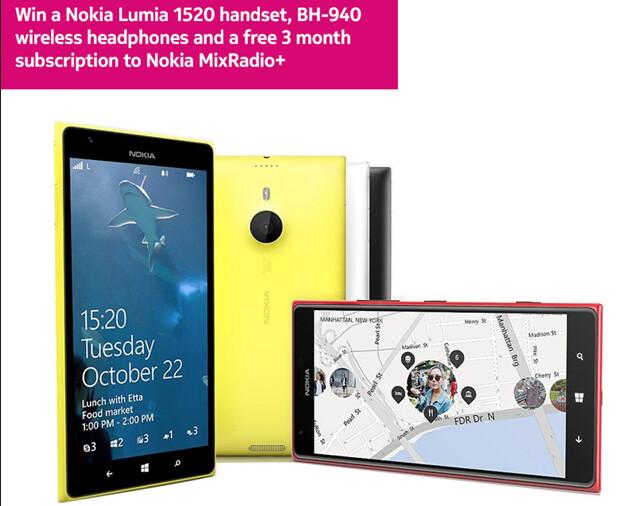 U.K. residents can win a Nokia Lumia 1520 from Nokia - Nokia giving away a Nokia Lumia 1520 in U.K. only MixRadio contest