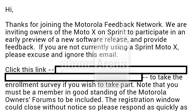 Motorola is readying a soak test for the Sprint branded Motorola Moto X - Sprint Motorola Moto X users get invite for soak test; is Android 4.4 coming?