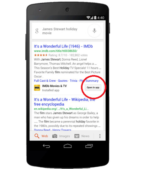 Google Search will find relevant information from your installed apps