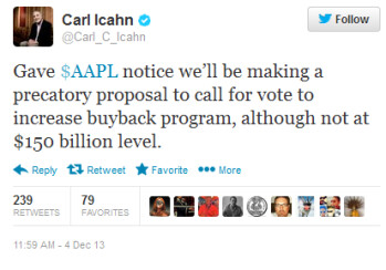 Icahn says he has sent his proposal for a stockholder vote to Apple