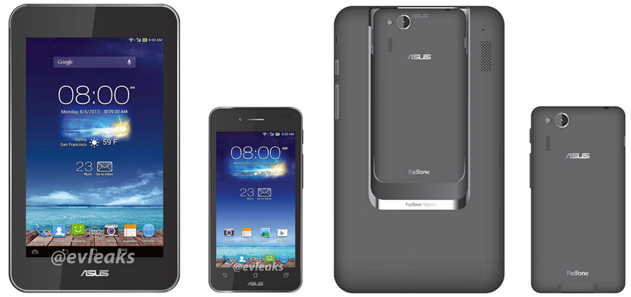 The Asus Padfone mini, and the 7 inch tablet dock, both front and back - Image of Asus Padfone mini leaks
