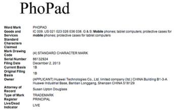 Huawei trademarks PhoPad name
