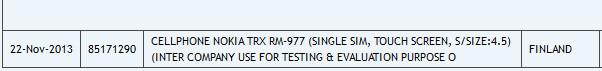 Nokia RM-977 was sent to India for testing and evaluation - Mystery Nokia device found on logistics tracking site