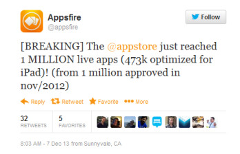 Appsfire says the U.S. App Store now contains over 1 million apps