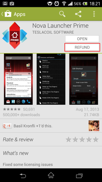 Getting an app refund on Google Play - we're taking advantage of the 15-minute refund period.