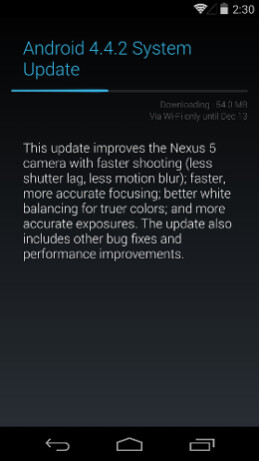 Android 4.4.2 is a 54MB update. - Android update brings huge improvements to Nexus 5 camera: before and after images