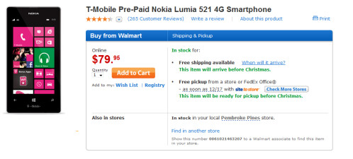 Walmart has the Nokia Lumia 521 for just $79.95...