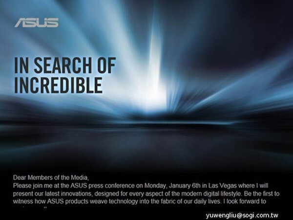 """Asus """"in search of incredible:"""" sends invites for event on January 6th"""