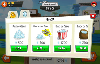 Angry Birds Go! generates revenue with in-app purchases and ads