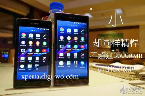 The Xperia Z1 mini aka 'Amami' pictured alongside its bigger Z1 brother