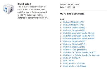 Apple is releasing iOS 7.1 beta 2 to developers
