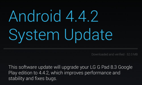 Android 4.4.2 is pushed out to the LG G Pad 8.3 and HTC One Google Play editions