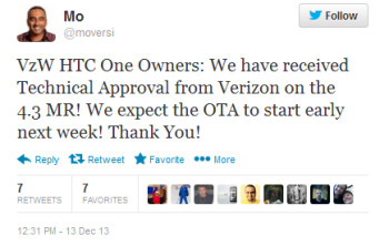 Tweet from HTC executive reveals Verizon's intentions to update its HTC One early next week to Android 4.3