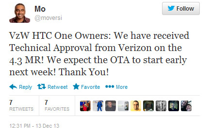 Tweet from HTC executive reveals Verizon's intentions to update its HTC One early next week to Android 4.3 - Verizon's HTC One penciled in for Android 4.3 update early next week