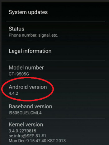 The Samsung Galaxy S4 GPe has been updated to Android 4.4.2