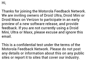 Motorola is performing a soak test for the trio of most recent DROID models on Verizon